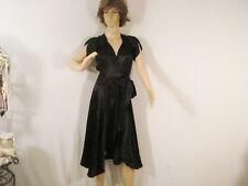 Black Vintage 1940s Wrap Dress Cap Sleeves Glam Cic Mid Calf Sheer Back Xs S