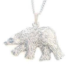 Oso Polar Colgante Hecho a Mano en Peltre Macizo en el Reino Unido +