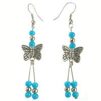 Boucles D'oreilles Argentées Papillon Argent Tibetain Perles bleu clair ciel