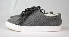 TORY BURCH MARION QUILTED LACE UP SNEAKER GRAY FELT SZ 9 M