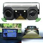 3 IN 1 Car Video Rear View Backup Reverse Sensor Camera+2 Radar Detector Sensors