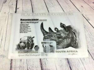 Rhinoceros Placemats & Coaster Set Africa's Most Endangered Plastic - Never used
