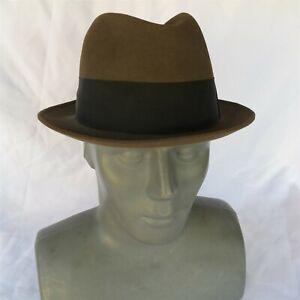 Vtg Resistol Self Conforming Fedora Size 7 1/4 Kitten Finish Brown Hat USA Nice