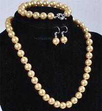 10mm Golden South Sea Shell Pearl Necklace bracelet Earrings Set AAA Grade OO