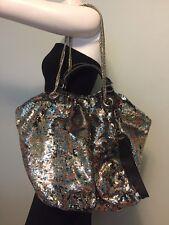 OrYany Wendy L Multicolor Reversible Sequin Leather Shoulder Bag Tote Handbag
