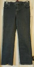Casual corner black stretch 8 beaded trimmed front pocket boot cut midrise jeans