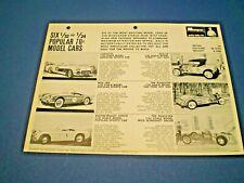 MONOGRAM Original 1967 double sided Dealer flyer 1/32 & 1/24 scale Cars