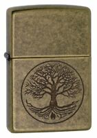 Zippo Regular Tree of Life Antique Windproof Refillable Cigarette Petrol Lighter
