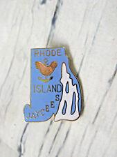 Rhode Island Jaycee 1981 Vtg Pale Pink Hen White Bay Blue State Enamel Lapel Pin