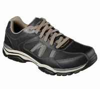 Black Leather Skechers Shoes Men's Memory Foam Sporty Taupe Comfort Oxford 65418