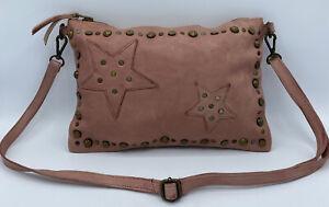 Viola Castellani Milano Italy Pink Leather Crossbody Bag Stars Grommets