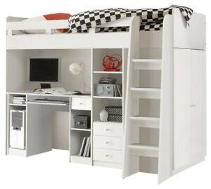 Kinderhochbett mit Schrank und Schreibtisch