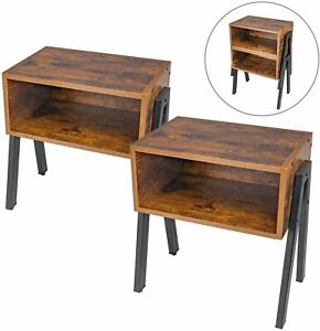 Industrial Nest Of Tables Coffee Side Sofa End Table Living Bed Room 2 Set Metal