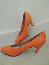 """Ladies Shoes Size 8 1/2 M Orange Leather 3 """" High Heel Pumps $75 Value - EUC"""