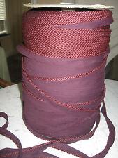 "cording lip twisted rope maroon 1/8"" 10 YRDS  made USA"