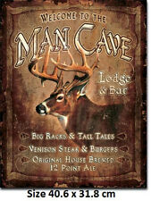 Man Cave Lodge & Bar - Stag Head Tin Sign 1868  Large Variety - Post Discounts