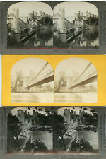 Conway Conwy Castle Carnarvonshire Conway Wales Stereoview Lot Castle Bridge