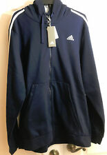 NWT ADIDAS NAVY BLUE LT LARGE MENS BIG AND TALL HOODIE JACKET ZIP UP  COAT