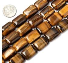 "Top Quality Natural Tiger Eye Gemstone 18mm Flat Rectangle Beads 15.5"" #GYM1-18"