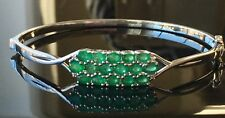 "Sterling Silver 2.67ctw Emerald /.05ctw Rd Wht Zircon Bracelet  8"" Brand New"