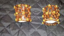Beaded Glass Candle Holders Pair New