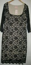 Lipstick black lace outer w/ skintone lining any occasion bodycon dress size 16