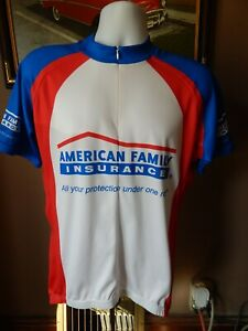 AMERICAN FAMILY INSURANCE 1/4 Zip Red White & Blue S/S Cycling Jersey Men's XL