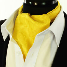 Quality Yellow Gold Paisley Cravat Ascot Tie Floral Scarf A8