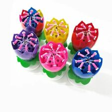 Double Lotus Music Birthday Candle Blossom Rotating Lotus Candle Birthday Cake C