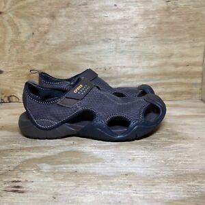 Crocs Swiftwater Hook Loop Adjustable Sport Sandals 15041, Men's size 11, Brown