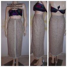 "Rare VTG "" Bernard Perris "" Paris Neutral Tweed & Leather 80's Pencil Skirt XS-S"