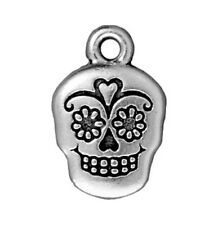 TierraCast Sugar Skull Charm, Antiqued Silver Plated Pewter (T108)
