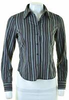 BENETTON Womens Shirt Size 6 XS Black Striped Cotton  CK32