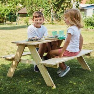 Kindersitzgruppe Holz Natur Kinder Outdoor Sitzgruppe Garten Möbel Bank