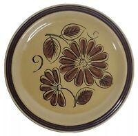 """LA MESA Stoneware Dinner Plate Made in Japan 1 Count 10.5"""" Round Brown Gold"""