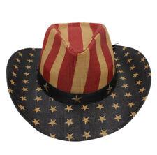 Unisex Fashion Western Cowboy Straw Hat American Flag Summer Wide Brim Beach Cap