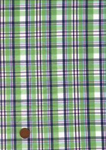 100% Cotton Fabric Madras Tartan Green Navy Blue Red White  Patchwork Craft