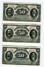 ^ 3 CU Consecutive SN#  Estado De Sonora 50 Centavos Banknotes