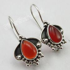 """925 Pure Silver RED FIRE DROP CARNELIAN FACTORY DIRECT Earrings 1"""" 3.4 Grams"""