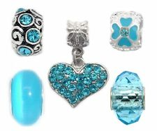 Gift Set Of 5 Silver Blue Heart Charms Beads For European Charm Bracelets