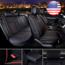 US Full Set Car PU Leather 5-Seat Covers Black&Red  Front &Rear Cushion+Pillows