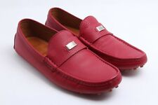 GUCCI 'Trademark Logo' Red Leather Driver Loafer Men's Shoes Size US 9 / UK 8.5