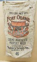 Vintage Fort Orange Feeds 100# Burlap Bag Barber & Bennett, Inc. Albany, NY