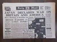 DAILY MAIL WWII NEWSPAPER DECEMBER 8th 1941 - JAPAN ATTACKS PEARL HARBOUR