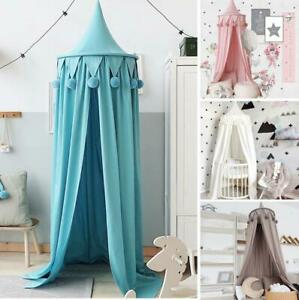 Round Pompom Dome Hanging Mosquito Net Play Tent For Kid Baby Bed Canopy Decor
