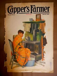 Vintage Cover March 1926 Magazine Capper's Boy sitting by Stove PD Johnson