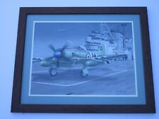 CONTEMPORARY PAINTING BY LEN MUSK ILLUSTRATION MILITARY GOVERNMENT AIRCRAFT SHIP