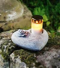 Grabschmuck Herz Grabdekoration Spruchstein Grableuchte Grablicht Rose
