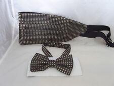 (19) brown/gold-tiny Diamantes shape-100% seda para hombre pajarita y Cummerbund Set