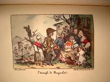 Chansons BERANGER illustré DEVERIA & Henri MONNIER 1828 2/2 RARE gravure couleur